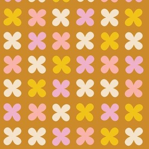 Hydrangea* (Pinks on Gold Seal) || flower flowers cross plus sign pastel x organic abstract pixel stripe check cross stitch needlework embroidery nature mustard