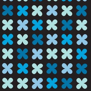 Hydrangea* (Blues on Black) || flower flowers cross plus sign pastel x organic abstract pixel stripe check cross stitch needlework embroidery nature