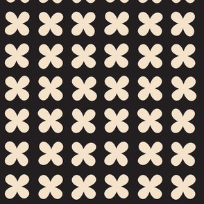 Hydrangea* (Cream on Black) || flower flowers cross plus sign and white x organic abstract pixel stripe check cross stitch needlework embroidery nature