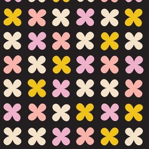 Hydrangea* (Pinks on Black) || flower flowers cross plus sign pastel x organic abstract pixel stripe check cross stitch needlework embroidery nature mustard