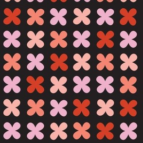 Hydrangea* (Reds on Black) || flower flowers cross plus sign pastel x organic abstract pixel stripe check cross stitch needlework embroidery nature