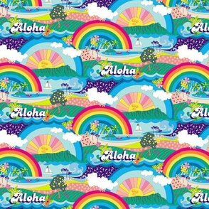 Aloha, Anuenue! (Hello, Rainbow!) {Custom Mini} || Hawaii Hawaiian tropical Polynesian rainbow palm trees flowers hibiscus plumeria sun sunset sunrise ocean diamond head waves sailboat memphis 80s