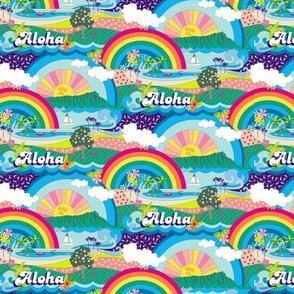 Aloha, Anuenue! (Hello, Rainbow!) {Custom Mini}    Hawaii Hawaiian tropical Polynesian rainbow palm trees flowers hibiscus plumeria sun sunset sunrise ocean diamond head waves sailboat memphis 80s