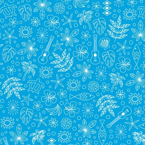 Keiki* (Sky) || ditsy Hawaii Hawaiian honu sea turtle tiki sun symbols tribal leaves flowers hibiscus plumeria bananas tropical palm tree bubbles fish ocean beach ukulele fabric by pennycandy on Spoonflower - custom fabric