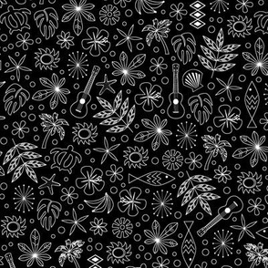 Keiki* (Black and White) || ditsy Hawaii Hawaiian honu sea turtle tiki sun symbols tribal leaves flowers hibiscus plumeria bananas tropical palm tree bubbles fish ocean beach ukulele
