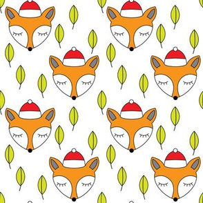 foxes-sleeping-with-santa-hats-and-leaves