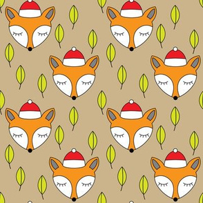foxes-sleeping-with-santa-hats-and-leaves-on kraft