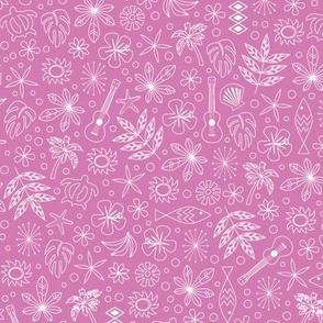 Keiki* (Pink Liza) || ditsy Hawaii Hawaiian honu sea turtle tiki sun symbols tribal leaves flowers hibiscus plumeria bananas tropical palm tree bubbles fish ocean beach ukulele pastel