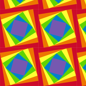 Twisted Squares Rainbow Optical Illusion Quilt Fabric
