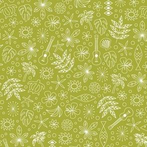 Keiki* (Split Pea Soup) || ditsy Hawaii Hawaiian honu sea turtle tiki sun symbols tribal leaves flowers hibiscus plumeria bananas tropical palm tree bubbles fish ocean beach ukulele