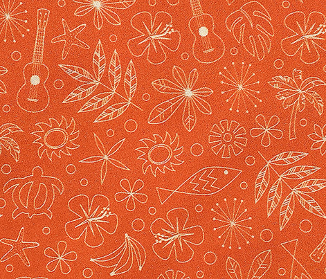 Keiki* (Valencia) || ditsy Hawaii Hawaiian honu sea turtle tiki sun symbols tribal leaves flowers hibiscus plumeria bananas tropical palm tree bubbles fish ocean beach ukulele orange