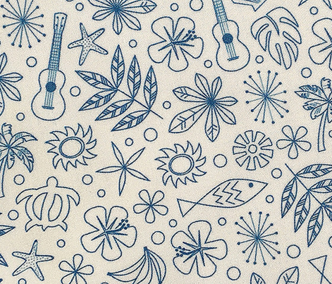 Keiki* (Blue Liz on White) || ditsy Hawaii Hawaiian honu sea turtle tiki sun symbols tribal leaves flowers hibiscus plumeria bananas tropical palm tree bubbles fish ocean beach ukulele orange