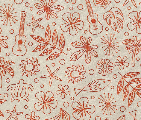 Keiki* (Valencia on White) || ditsy Hawaii Hawaiian honu sea turtle tiki sun symbols tribal leaves flowers hibiscus plumeria bananas tropical palm tree bubbles fish ocean beach ukulele orange