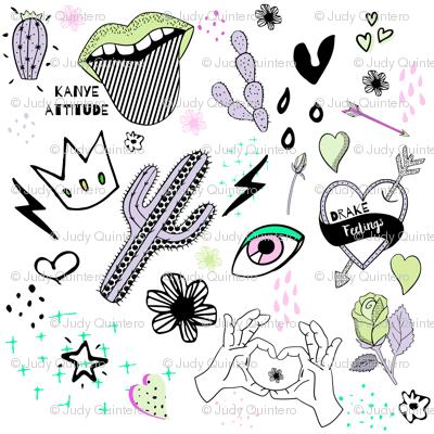 """8"""" Kanye Attitude Drake Feelings - Purple Green"""