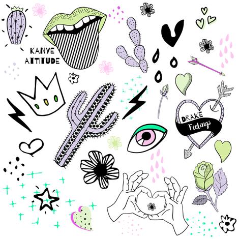 "8"" Kanye Attitude Drake Feelings - Purple Green fabric by rebelmod on Spoonflower - custom fabric"
