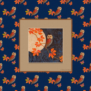Pillow Size and Quilting Panel Owls Dark Blue