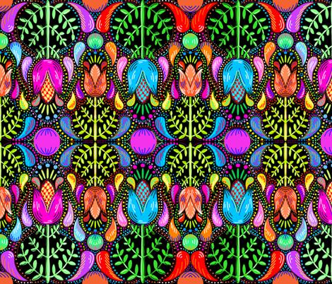 Swedish folk art tulips floral fabric by beesocks on Spoonflower - custom fabric