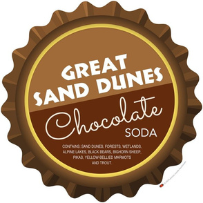 Soda Nation Pillow Panel (Great Sand Dunes National Park) || United States America parks typography bottle cap bottlecap pop travel summer vacation road trip home decor Colorado