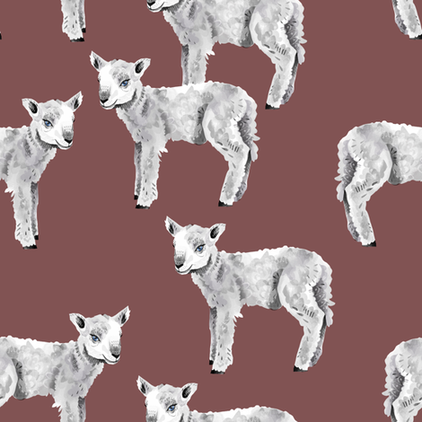 Lambs on Mauve fabric by taraput on Spoonflower - custom fabric