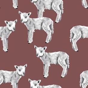 Lambs on Mauve
