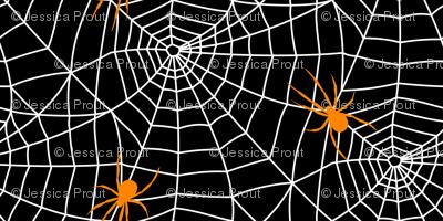 spider web - white on black w/ spider