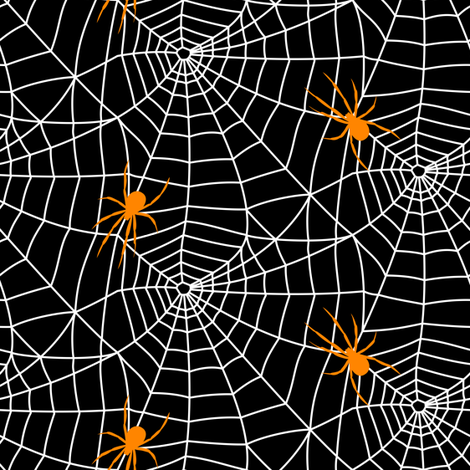 spider web - white on black w/ spider fabric by littlearrowdesign on Spoonflower - custom fabric