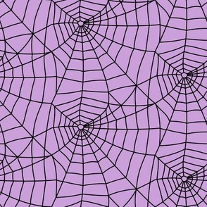 spider webs - black on purple - halloween fabric