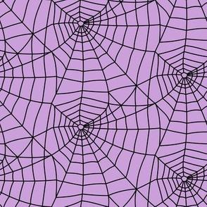 spider webs - black on purple - halloween fabric