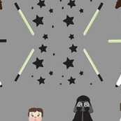 Bears in Space Cement grey, galaxy, baby, kids, stars, light saber