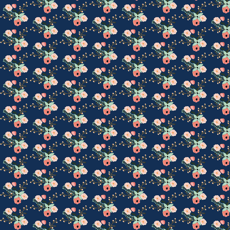 Summer Floral Navy - SMALL VERSION - Navy Floral - Flowers fabric by modfox on Spoonflower - custom fabric