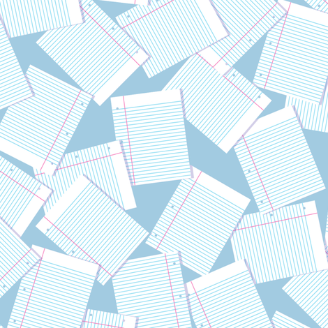 Notebook Paper Scatter - Lt. Blue fabric by siya on Spoonflower - custom fabric