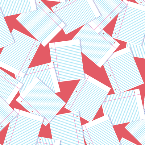 Notebook Paper Scatter - Red fabric by siya on Spoonflower - custom fabric