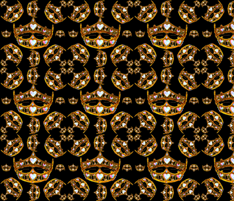 Gold Queen of Hearts Crowns Tiaras black background 150 dpi fabric by fabricatedframes on Spoonflower - custom fabric