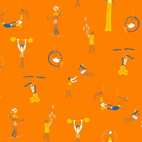 Circus Performers in orange