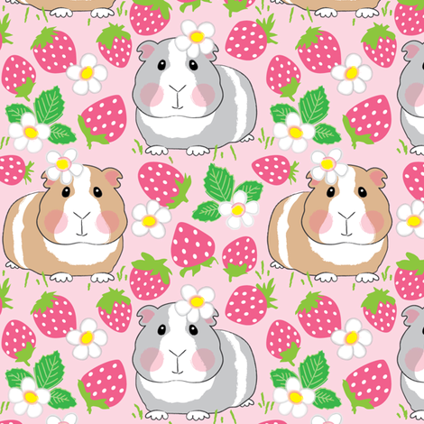 guinea-pigs-in-a-strawberry-patch fabric by lilcubby on Spoonflower - custom fabric