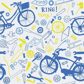 bikes and tools in blue and yellow