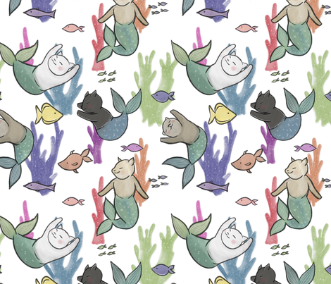 Large Scale Purrmaids on White fabric by landpenguin on Spoonflower - custom fabric