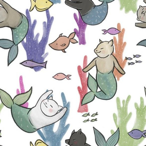 Large Scale Purrmaids on White
