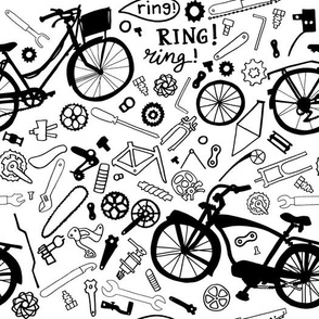bikes and tools black and white