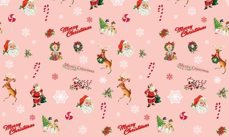 Vintage Christmas Santa Claus Reindeer fabric by twodreamsshop on Spoonflower - custom fabric