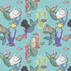 Small Scale Purrmaids on Light Blue