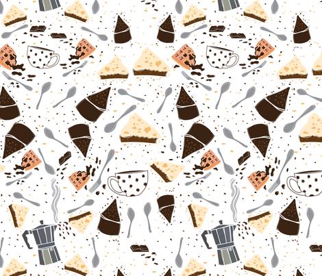 San Chocolate cakes and coffee fabric by natalia_gonzalez on Spoonflower - custom fabric