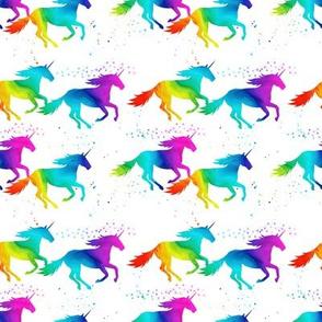 (small scale) watercolor unicorns - rainbow
