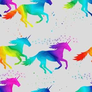 watercolor unicorns - rainbow on grey