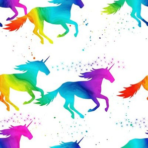 watercolor unicorns - rainbow