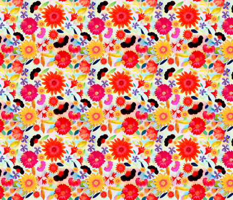 bohosummerflowers fabric by marigoldpink on Spoonflower - custom fabric