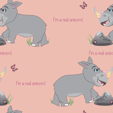 Rhinocorn Rhino fabric by applebutterpattycake on Spoonflower - custom fabric