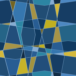 Angled glass-blue-gold