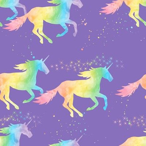 watercolor unicorns - pastel rainbow on purple