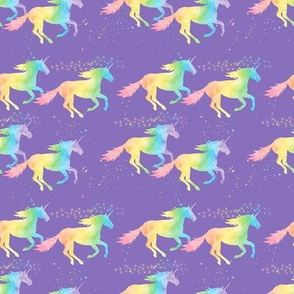 (small scale) watercolor unicorns - pastel rainbow on purple